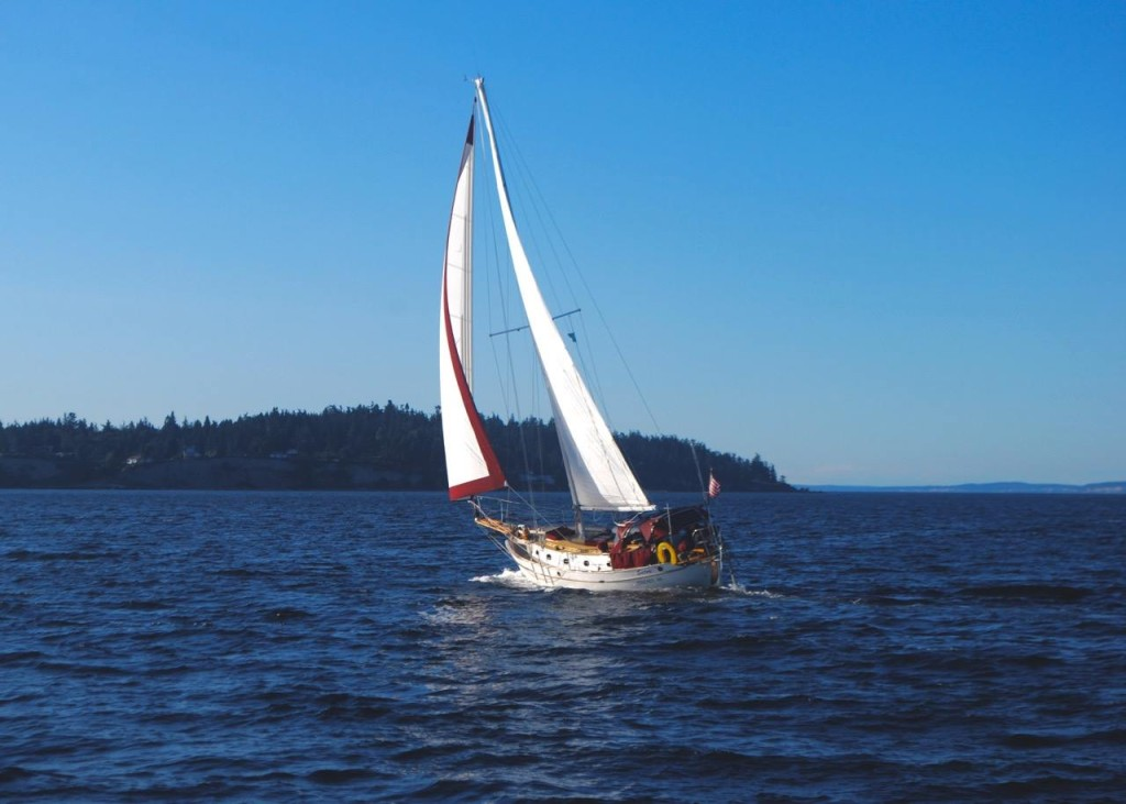 Satori sailing as a sloop for short tacking in the Salish Sea