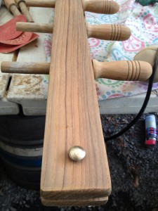 How the raw wood of the belay pin rack looks before cleaning and oiling