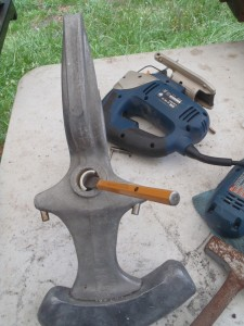 Chisel the old bushing away