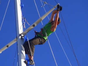 Using a daisy chain clipped to a mastmate rung I can lean out away from the mast