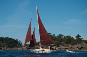Satori under sail in 15 knot winds north of Sucia Island, San Juans, WA