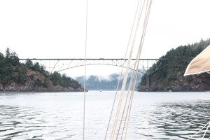 Going under the bridge at Deception Pass