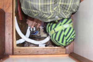 Installing a new Rule 1100 and new switch into the bilge.