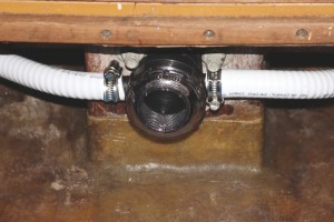 An inline strainer for the shower tub drain in the bilge