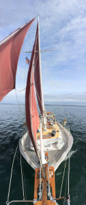 Satori hauled to the wind in Puget Sound near Blake Island
