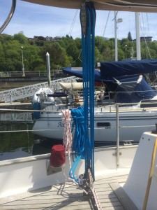 New mainsheet set out of the way while parked.