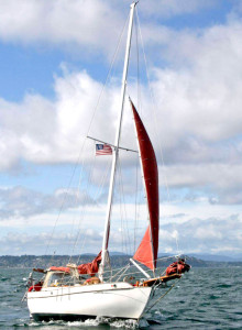 Satori running under staysail in 20-30 knot winds