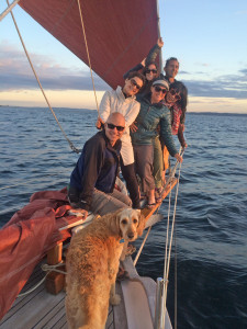 Crew on the bowsprit