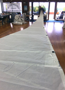 Frank unveiling the new mainsail