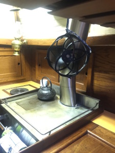 Computer fan circulates warm air from the Dickinson Stove