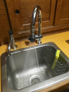 New galley faucet with an improved hot/cold mixer