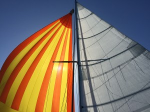 Sailing wing on wing with the cruising spinnaker