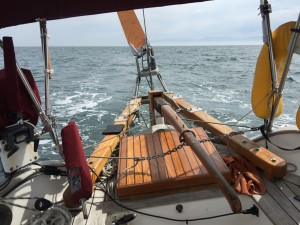 Aries vane gear steering the boat in the Strait of Juan de Fuca