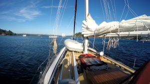 Getting under-weight in Friday Harbor. Satori motored from the anchorage and ran downwind in twenty knot winds.