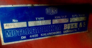 Bukh DV 36 ME engine label
