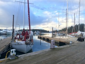 Secured to the Roche Harbor marina slip during an expected near gale