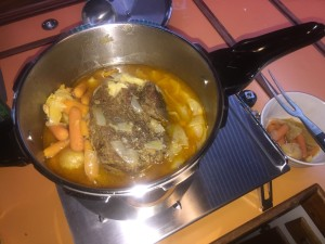 Beef roast in a pressure cooker