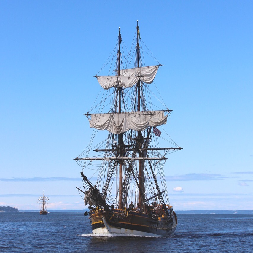 Tall ship Hawaiian Chieftain sailing near Port Ludlow